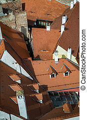 Aerial view over roof tiles in Sibiu city, Romania