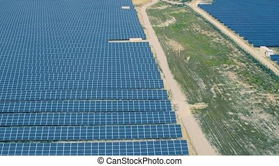 Aerial View Over Solar Panel Farm, Portugal