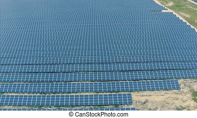 Aerial View Over Solar Panel Farm