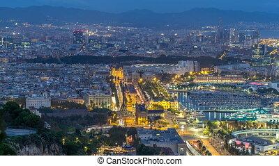 Aerial view over square Portal de la pau day to night...