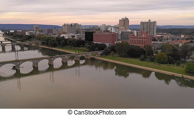 Aerial View Over Susquehanna River in Harrisburg...