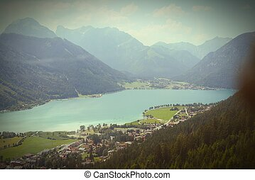 Aerial view over the Aachensee lake in tyrol/ Austria