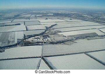aerial view over the agricultural plant
