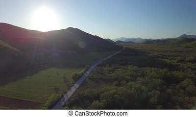 aerial view over the Bosnia highway at sunset