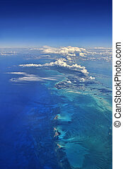 Aerial view over the caribbean - Stunning aerial view over ...