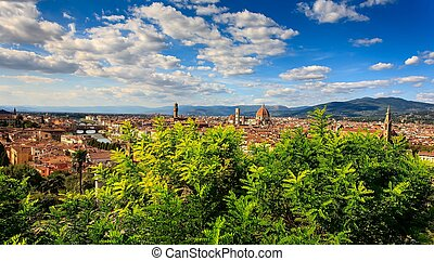 Aerial View over the Historic City of Florence