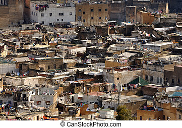 Aerial view over the medina of Fes, Morocco