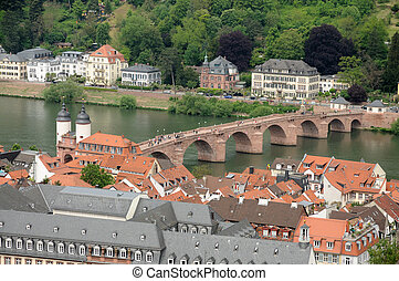 Aerial view over the Od Bridge in Heidelberg, Germany