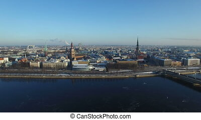 Aerial view over the Old Riga City, Latvia