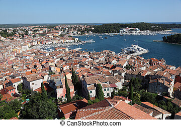 Aerial view over the old town of Rovinj, Croatia