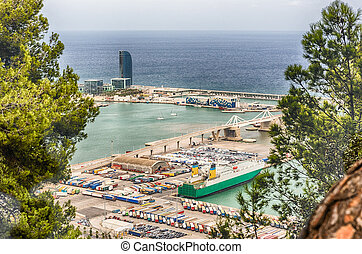 Aerial view over the Port of Barcelona, Catalonia, Spain