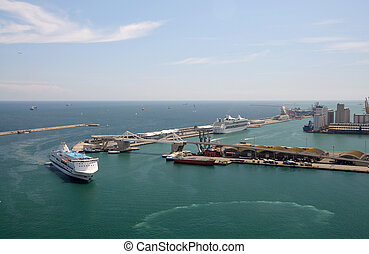 Aerial view over the port of Barcelona, Spain