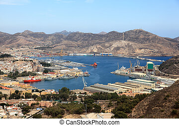 Aerial view over the port of Cartagena, region Murcia, Spain