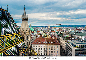 Aerial view over the rooftops of Vienna