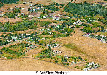Aerial view over the small town