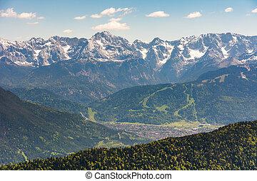 Aerial view over the village of Garmisch
