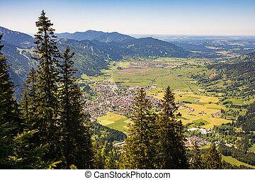 Aerial view over the village of Oberammergau