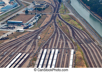 aerial view over train tracks