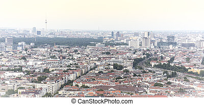 aerial view panorama of berlin, with tv tower