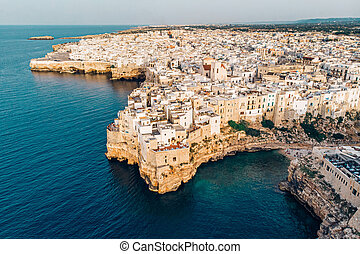 Aerial View panorama of town Polignano a Mare