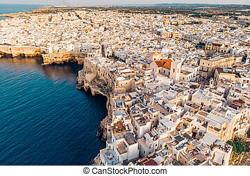Aerial View panorama of town Polignano a Mare, Puglia, Italy