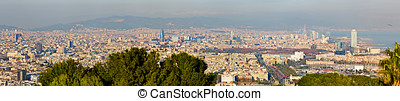 Aerial View Panorama Over Barcelona from Montjuic