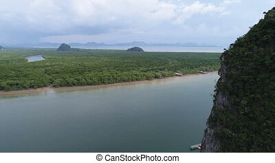 Aerial view Phang Nga Bay Marine National Park protected and of international ecological significance wetlands forestation