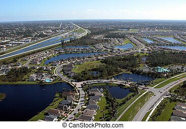 Aerial View - Photograph of roadways in Florida from a...