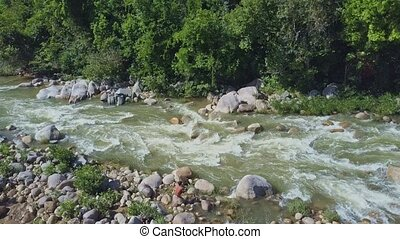 Aerial View Pictorial Mountain River and Local Guy Fishes -...