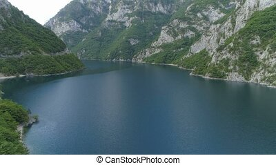aerial view Piva Lake in Montenegro, before sunrise