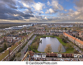 Aerial view pond in dutch city
