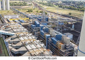 Aerial view - power plant, Poland, Europe.
