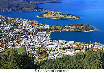 aerial view Queenstown downtown skyscraper, closeup