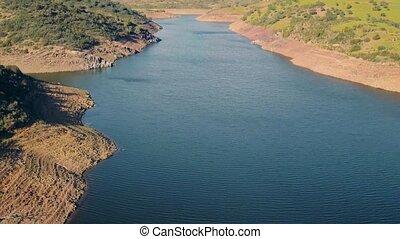 Aerial View Reservoir near Dam, Portugal