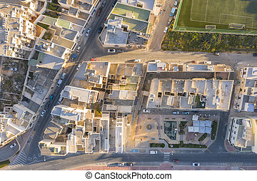 Aerial view residential area of a small village on the Mediterranean coast.