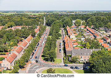 Aerial view residential area of Emmeloord, The Netherlands