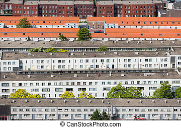 Aerial view residential area The Hague, The Netherlands