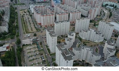 Aerial view. Residential neighborhood, green trees, ...