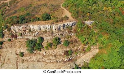 AERIAL VIEW. Ridge Of Mountain Demerji Overgrown With Green Trees