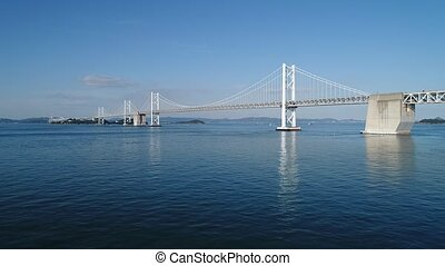 Aerial view, rise in of calm, blue sea, Seto-bridge - Aerial...