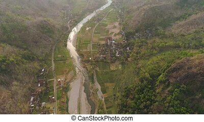 river in mountain canyon - aerial view river canyon among...