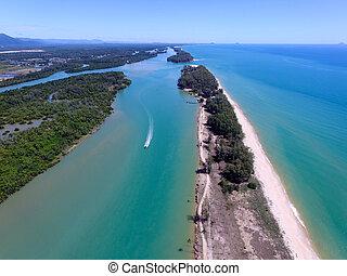 aerial view river estuary