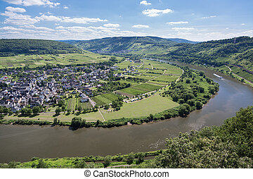 Aerial view river Moselle near Punderich, Germany