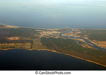 Aerial view - river mouth and ocean