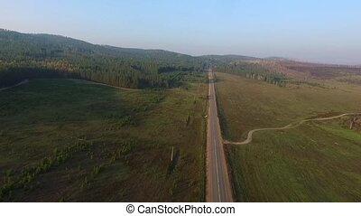 Aerial View Road In The Coniferous Forest On Lake Baikal, Buryatia, Russia