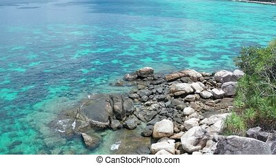 Aerial view rocky part of amazing Koh Kra island in Thailand...