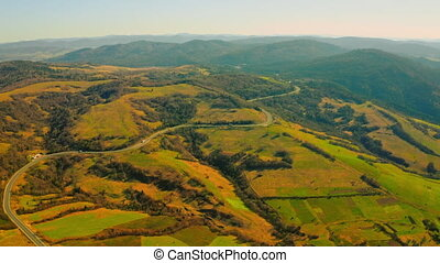 aerial view route in highland - top view on road in ...