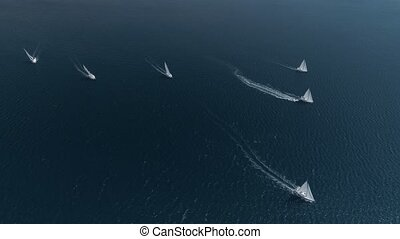 aerial view sailing yachts, regatta