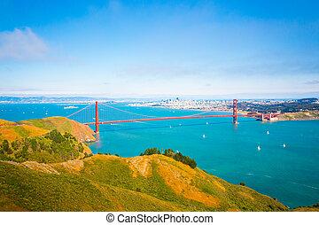 Aerial View San Francisco Golden Gate Bridge Marin