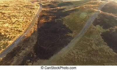 AERIAL VIEW. Scythian Naples With Burnt Grass Damaged By Fire, Crimea